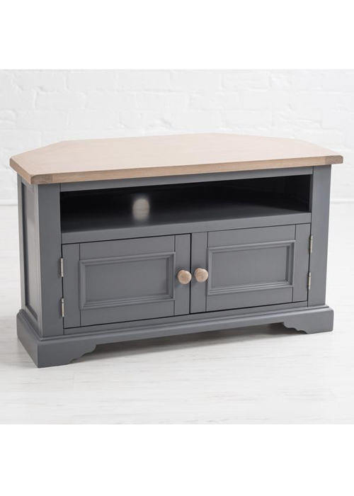 Sturdy Grey Wood Oak Pine Wooden Handle Television Corner Stand Cabinet a