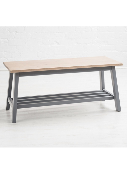 Sturdy Modern Natural Oak Painted Dove Grey Wooden Shoe Storage Bench