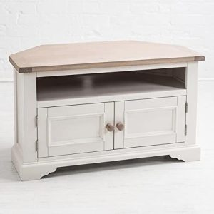 Sturdy White Oak Pine Wooden Handle TV Television Corner Stand Cabinet a