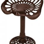 XHD068_1__Sturdy Antique Vintage Style Tractor Seat Brown Cast Iron Metal Chair Stool