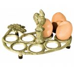 xhd029__Cast Iron Hen Sturdy Distressed Cream Brown Metal Egg Rack Display Holder Tray