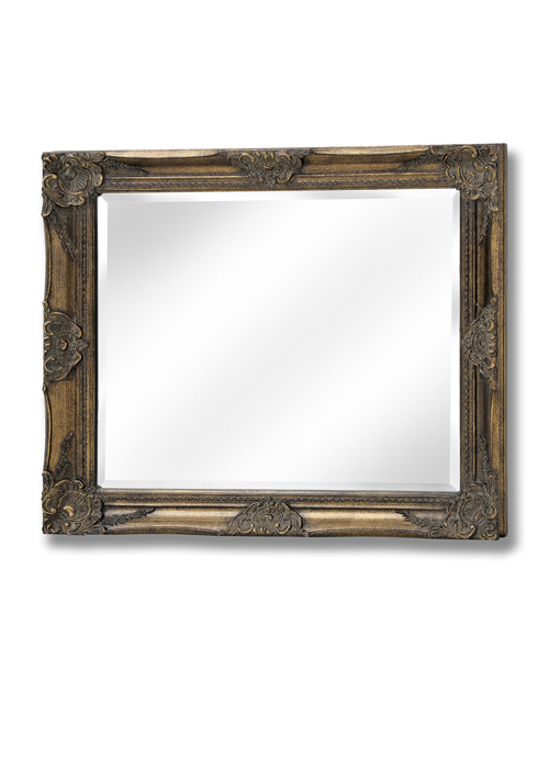 15315-a French Vintage Style Antique Gold Effect Rectangle Ornate Wall Hanging Mirror