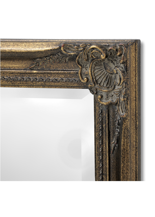 15315-b French Vintage Style Antique Gold Effect Rectangle Ornate Wall Hanging Mirror