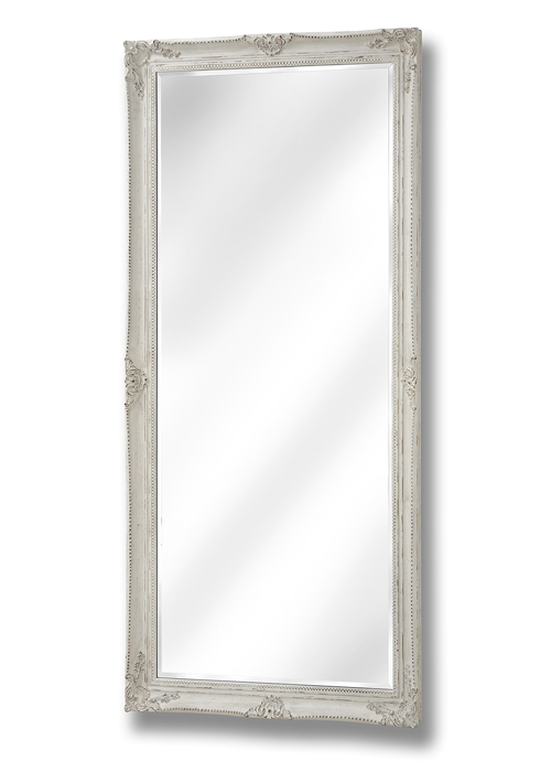 15336 Large Baroque Ornate Antique White Decorative Rectangle Full Length Wall Mirror