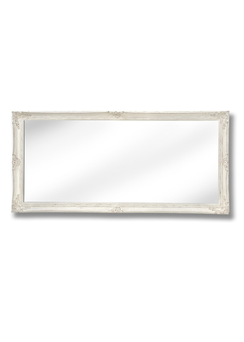 15336-a Large Baroque Ornate Antique White Decorative Rectangle Full Length Wall Mirror