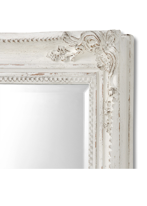 15336-b Large Baroque Ornate Antique White Decorative Rectangle Full Length Wall Mirror