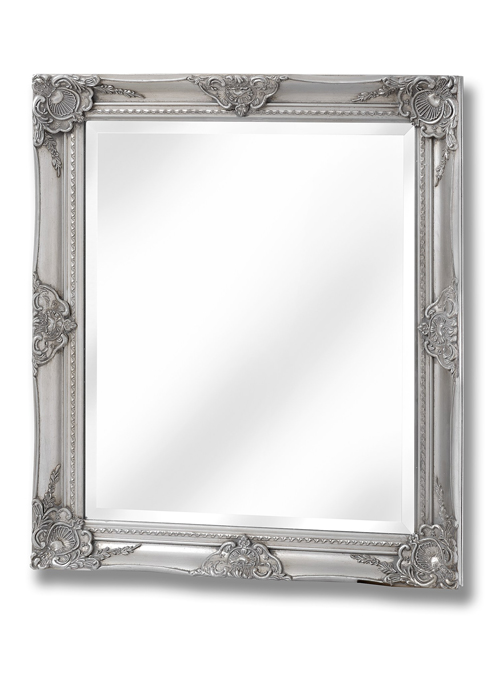 16308 French Vintage Style Antique Silver Effect Rectangle Ornate Wall Hanging Mirror