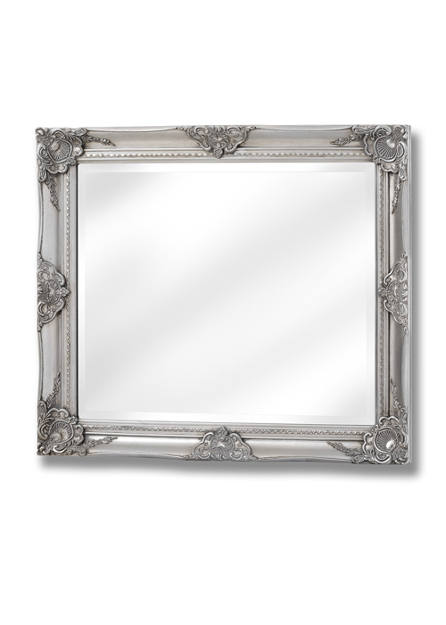 16308-a French Vintage Style Antique Silver Effect Rectangle Ornate Wall Hanging Mirror