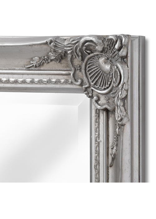 16308-b French Vintage Style Antique Silver Effect Rectangle Ornate Wall Hanging Mirror