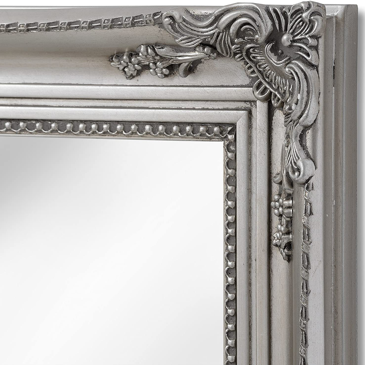 16311 B Large Baroque Ornate Antique Silver Decorative Rectangle Full Length Wall Mirror Interior Flair