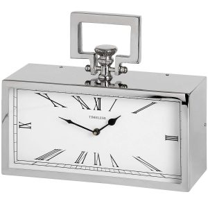 17281 Pocket Watch Style Silver Polished Nickel Mantel Rectangle Clock