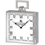 18241 Large Silver Bond Street London Mantel Square Clock