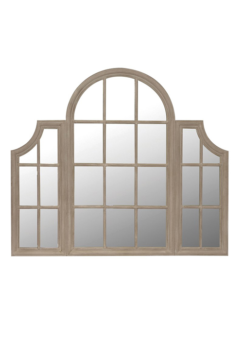 SHQ141 Elegant Large French Country Style Grey Brown Triple Window Mirror