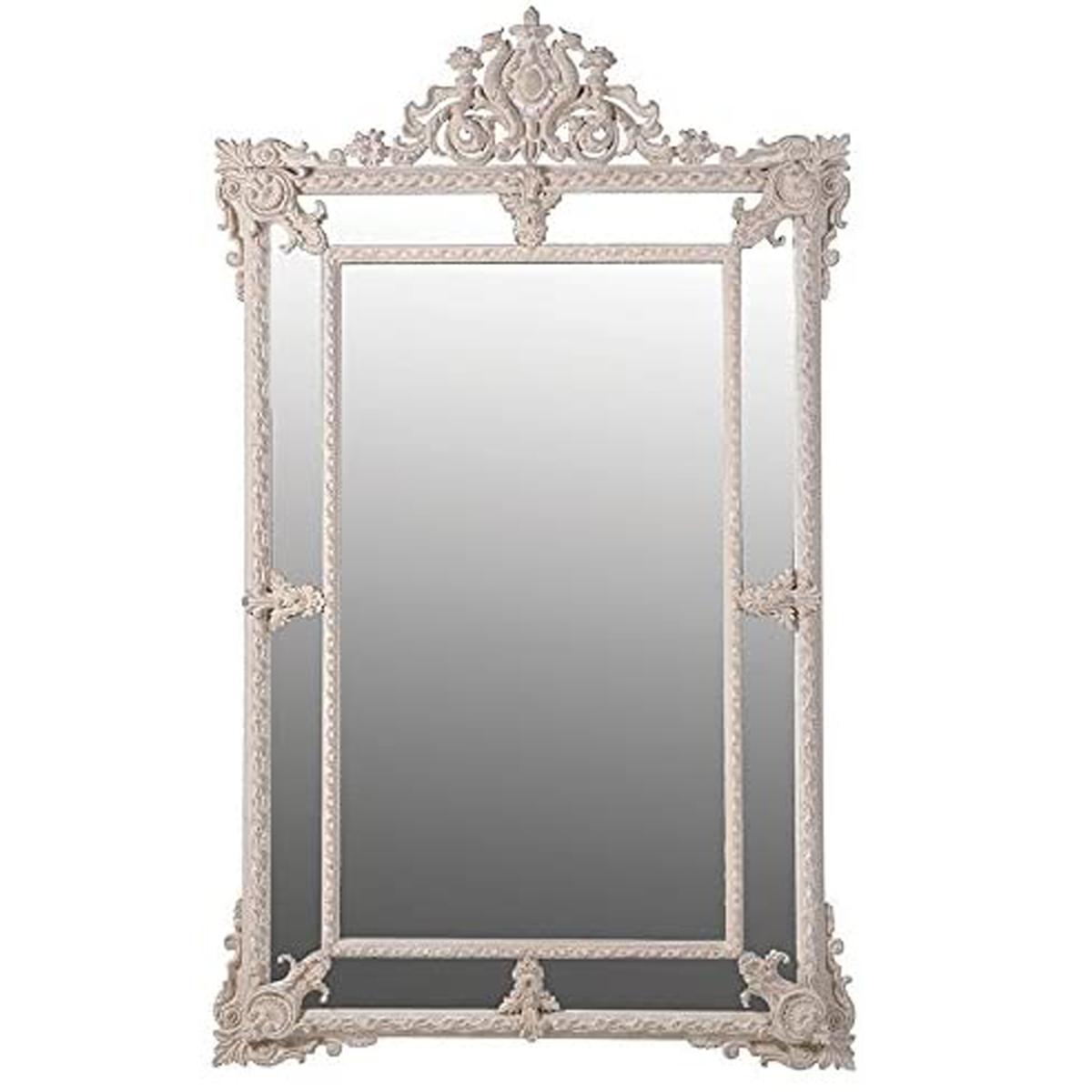Large Antique Traditional Style Cream Mirror Interior Flair