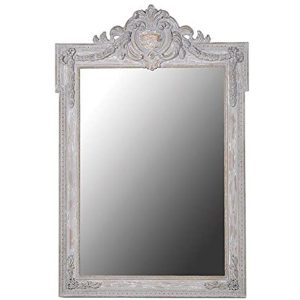 SHQ254 Antique Style Crest Top Distressed White Brown Large Wall Mirror …
