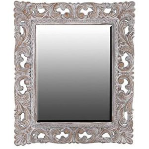 TNG003 Large Antique Style Ornate Distressed White Brown Mirror …
