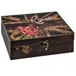 HFL067 Antique Rose Floral Trinket Storage Box