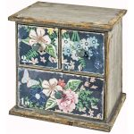 MBF215 Vintage Flowers Table Top 3 Drawer Unit Chest