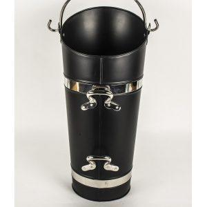 QPR035_1 Tall Black Silver Chrome Fireplace Coal Scuttle
