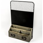 RXC014_1 Vintage Style Wooden Black Metal Storage Rack