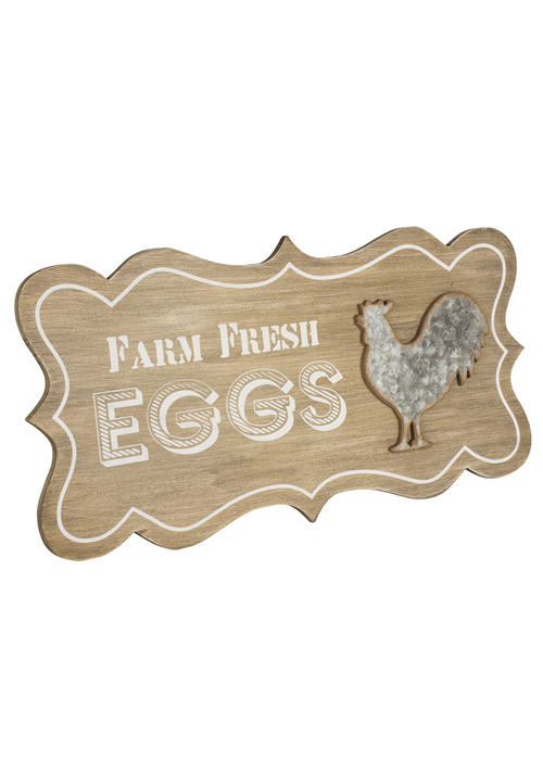 SYD017 Country Style Farm Fresh Eggs Wooden Sign