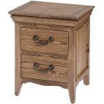 18103 Natural Oak 2 Drawer Bedside Table