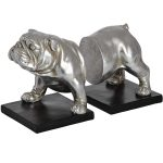 18409 Antique Silver Bull Dog Bookends