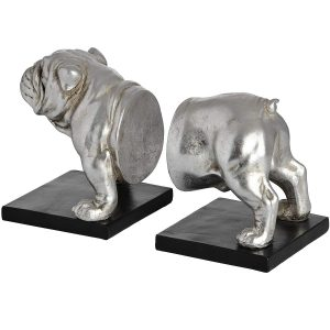 18409-a Antique Silver Bull Dog Bookends
