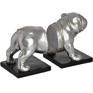 18409-b Antique Silver Bull Dog Bookends