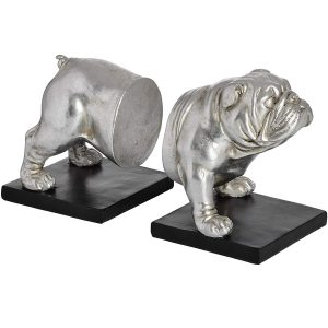 18409-c Antique Silver Bull Dog Bookends