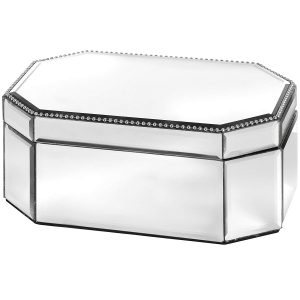 18509 Large Mirrored Glass Trinket Jewellery Box