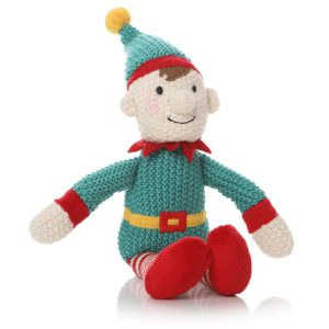 87408_Knitted Green Red Elf Toy