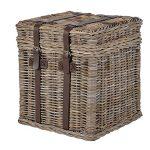INT4025 Rustic Wicker Basket Hamper Table