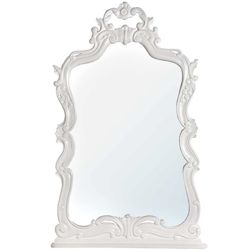 Ornate White Wooden Large Wall Mirror Interior Flair