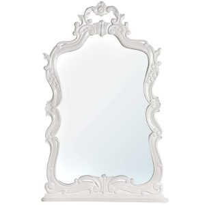 J6006-TW Ornate White Wooden Large Wall Mirror
