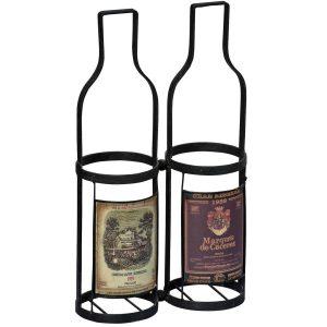 MNX173_2__Antique Style Black 2 Wine Bottle Carrier