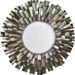 cmm080_Sunburst Silver Grey Metal Wall Mirror