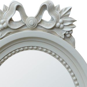 miw-048-wh-det1 Antique Style White Floral Wall Oval Mirror