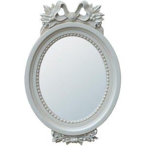 miw-048-wh_1 Antique Style White Floral Wall Oval Mirror