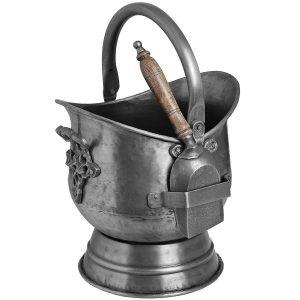 11298 Antique Grey Coal Scuttle With Shovel