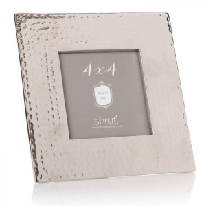 Hammered Silver Aluminium Square Photo Frame