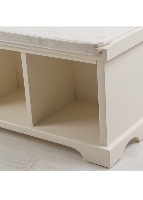 Country White Storage Bench with Cushion b