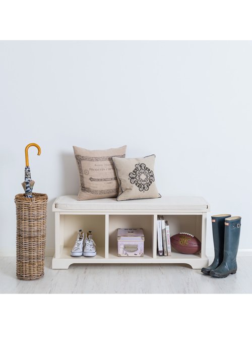 Country White Storage Bench with Cushion