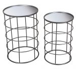 QEL055_Contemporary Mirrored Grey Round Nested Tables