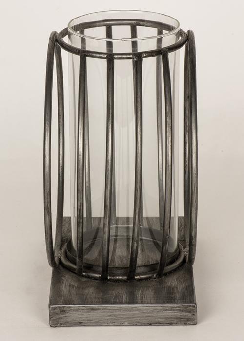 QEL057_2_Contemporary Silver Grey Circles Candle Lamp