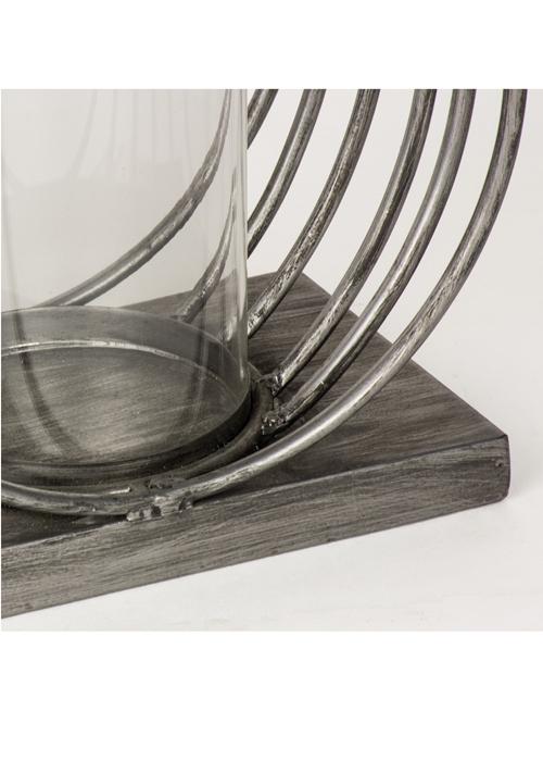 QEL057_3_Contemporary Silver Grey Circles Candle Lamp