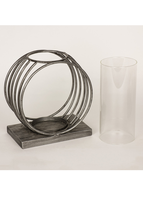 QEL057_4_Contemporary Silver Grey Circles Candle Lamp