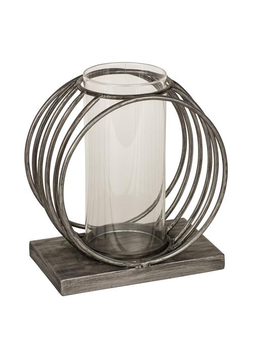 QEL057_Contemporary Silver Grey Circles Candle Lamp