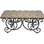 UGK025_1_Antique Black Grey Upholstered Bench