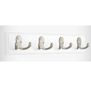 White Wooden Silver Double Hooks Rail